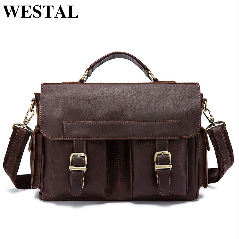 WESTAL Men Bag Genuine Leather Briefcase Men's Business Laptop Bag Man Crossbody Shoulder Handbag Real Leather Men Bags  8408