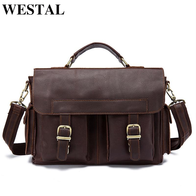 WESTAL Men Bag Genuine Leather Briefcase Men's Business Laptop Bag Man Crossbody Shoulder Handbag Real Leather Men Bags  8408