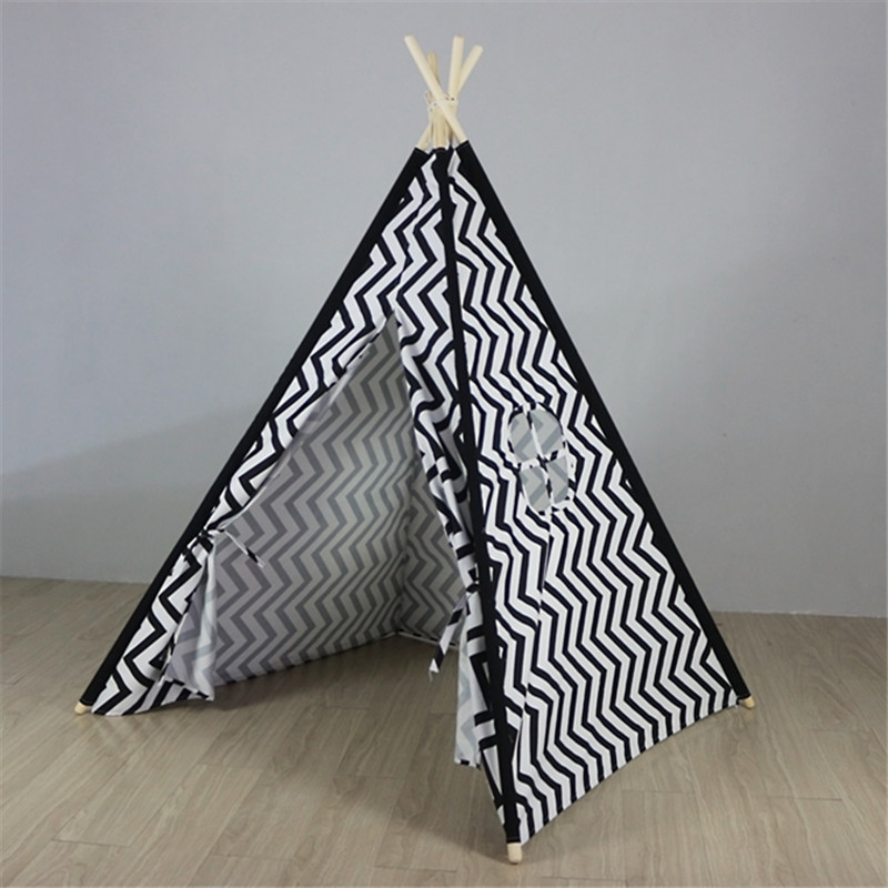 все цены на Black Chevron Teepee Play Tent Childrens Wigwam Tent Canvas Teepee Tent Tipi Kids Tipi Tente Enfant