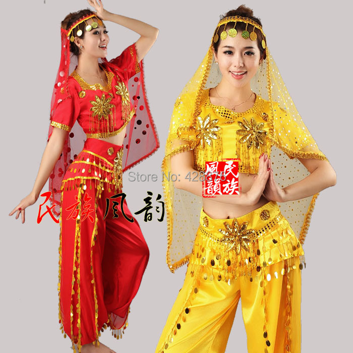 Middle East Muslim Stage Dance Women 39 s Costume silk costumes sets in Chinese Folk Dance from Novelty amp Special Use