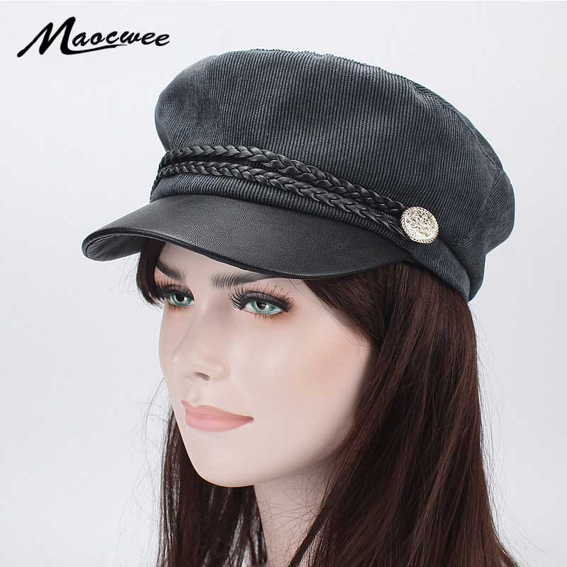 3dcf5177 Detail Feedback Questions about Army Military Hat Spring summer Vintage  Patchwork Beret Cap for Women England Style Flat PU leather Cap Hat Fashion  Solid ...