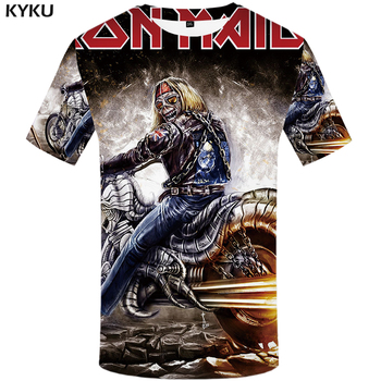 KYKU Brand iron maiden shirt band men T shirt music T-shirt Skull Tshirt Gothic Tops Rock clothes motorcycle clothing Punk