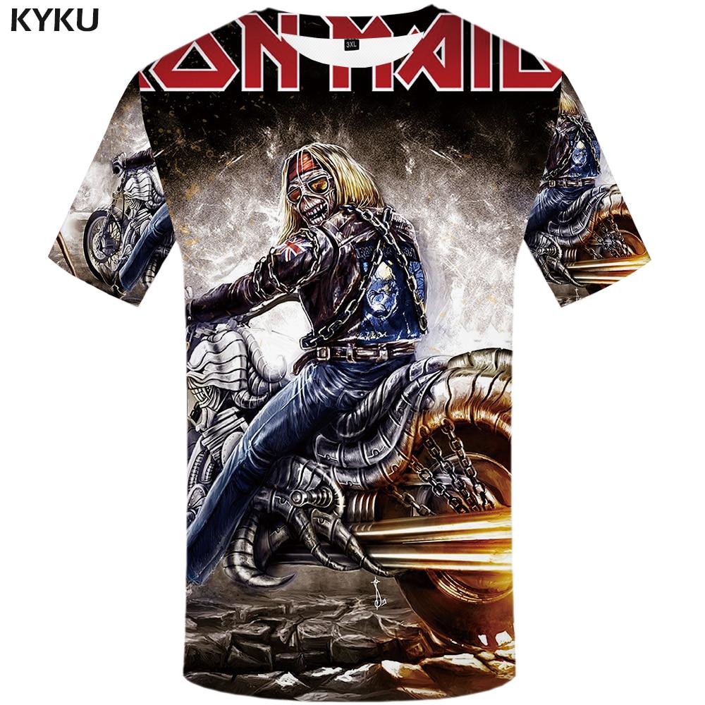 KYKU Marca iron maiden banda camicia uomo T shirt T-Shirt musica Cranio Maglietta Gotico Top Roccia abbigliamento moto abbigliamento Punk