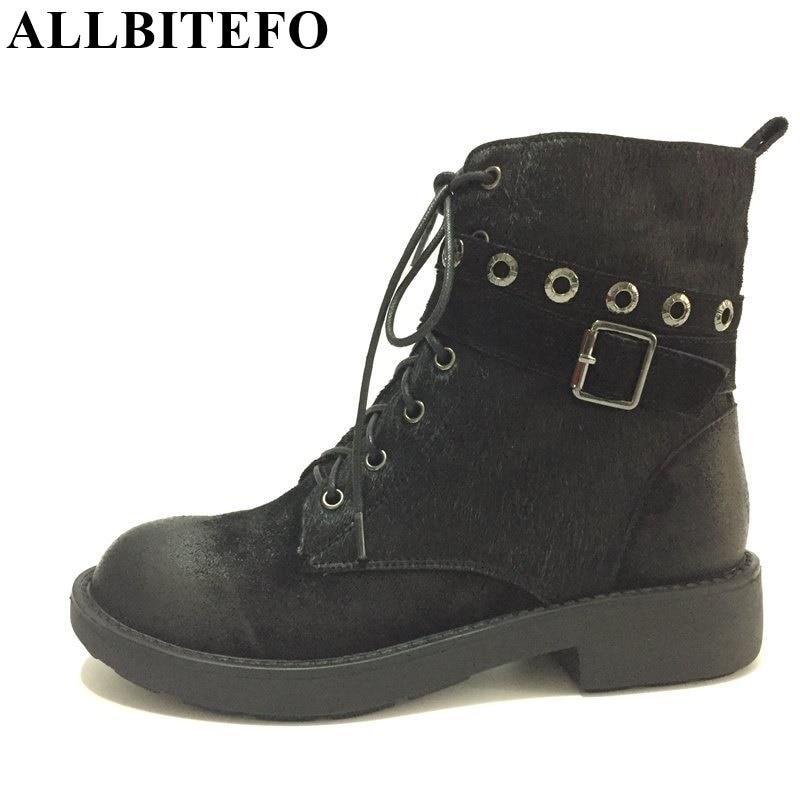 ФОТО ALLBITEFO Fashion brand Low-heel zip buckle Western winter snow boots Horsehair+genuine leather short women boots martin boots