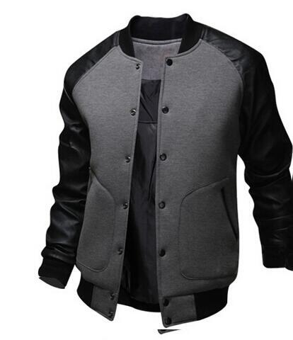 Cool College Baseball Jacket Men 2017 Fashion Design Black Pu Leather Sleeve Mens Slim F ...
