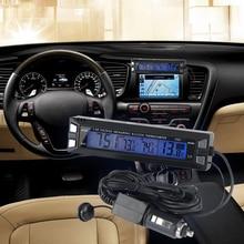 Big discount Car LCD Digital Auto Thermometer Voltmeter Clock Volt Temperature Monitor Outdoor Indoor LCD Blue Backlight