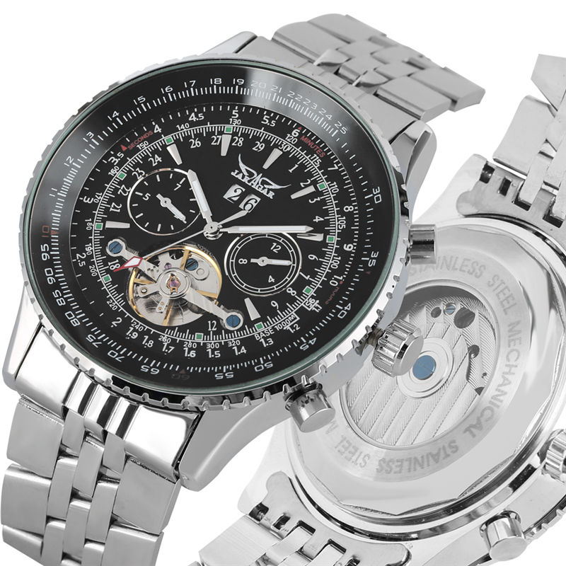 Automatic Mechanical Watch Stainless Steel Skeleton Watches Calendar Function Luminous Hands erkek kol saati
