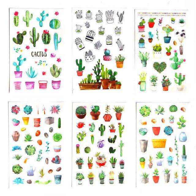 6 unids/set lindo Cactus verde planta planificador pegatinas Scrapbooking Kawaii DIY decoración Stick etiqueta adhesiva diario pegatinas