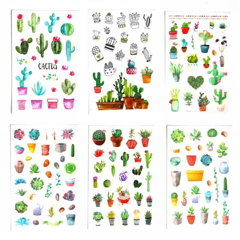 Cactus Tape Kawaii Desert Succulent Plant Cute Gardening Decal Sticker Cool Bulk for Scrapbooking Journal Planner Card Making DIY Decoration