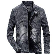 b new Vintage Denim Jackets Men Slim Fit Solid Color Casual Mens Jeans Coat 2019 Fashion Clothes for Black Blue