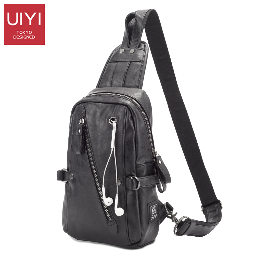 UIYI men's black chest bag Headphone USB Line hole PVC men's Messenger Crossbody Bag Casual male package shoulder bags for women uiyi male pvc casual shoulder bag black chest bag for men shoulder