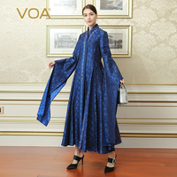 VOA 2017 Autumn Winter New Deep Blue Chinese Style Plus Size Vintage Tunic Coat Silk Jacquard