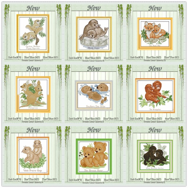 dogs wolf lion bear foxes animals painting 11CT patterns printed on canvas DMC 14CT Cross Stitch Needlework Sets Embroidery kits