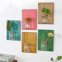 New 2017 High Quality Creative Wood Wall Decoration Wall Mural Wall Vase Hydroponic Plants Planter Flowerpot