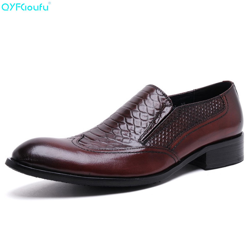 QYFCIOUFU Fashion Pointed Toe Business Dress Shoes Men Loafers Genuine Leather Oxford Shoes Formal Slip On Wedding Party ShoesQYFCIOUFU Fashion Pointed Toe Business Dress Shoes Men Loafers Genuine Leather Oxford Shoes Formal Slip On Wedding Party Shoes