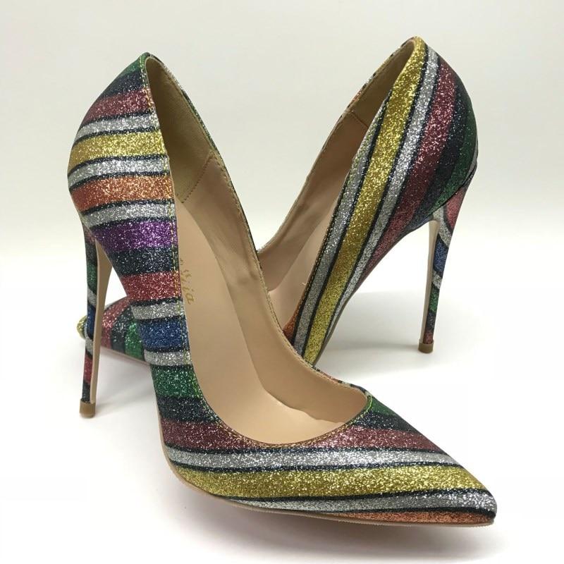 Chaussures Heel Tailles Bling Mode Heel Marque Femme Des Sandales Talons Mince Paillettes 44 Femmes Hauts 8cm Lady 10cm Heel De Sexe Stiletto Rayé 12cm Tissu Soirée Pompes Iqp5B