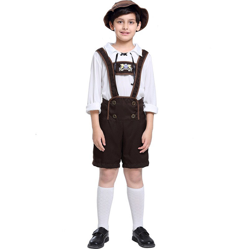 110-160CM Kids Boy German Bavarian Lederhosen Outfit Oktoberfest Clothing Peasant Costume Overalls Hat Suit For Teen Child S-XL
