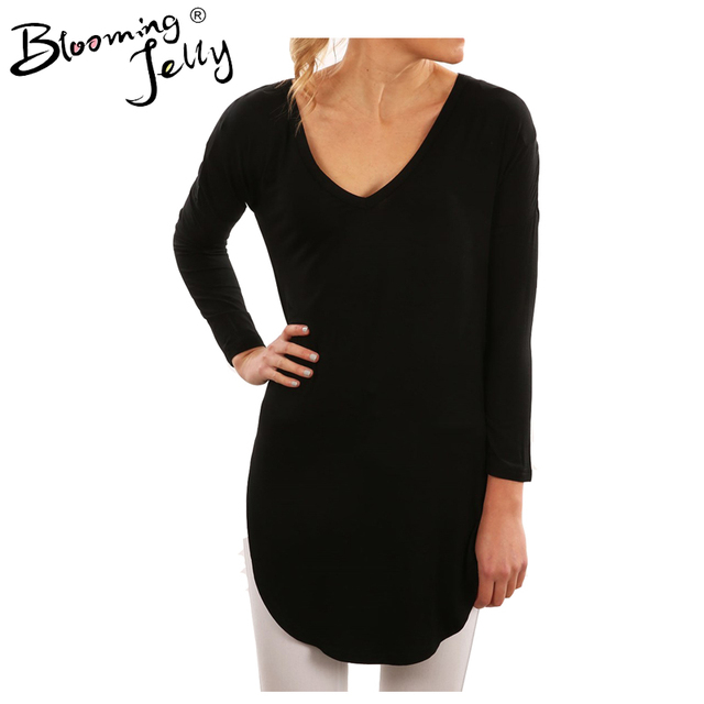 55a0fd60f18 Blooming Jelly Long 2017 Double Side Slit Casual Tops Female Shirt Women  Simple Autumn Top Black Blouse Female Shirt