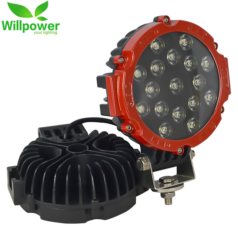 2pcs 12V 7 Inch 51W Round LED Work Light Spot Flood Beam For 4x4 Offroad Truck Tractor ATV SUV Driving Lamp