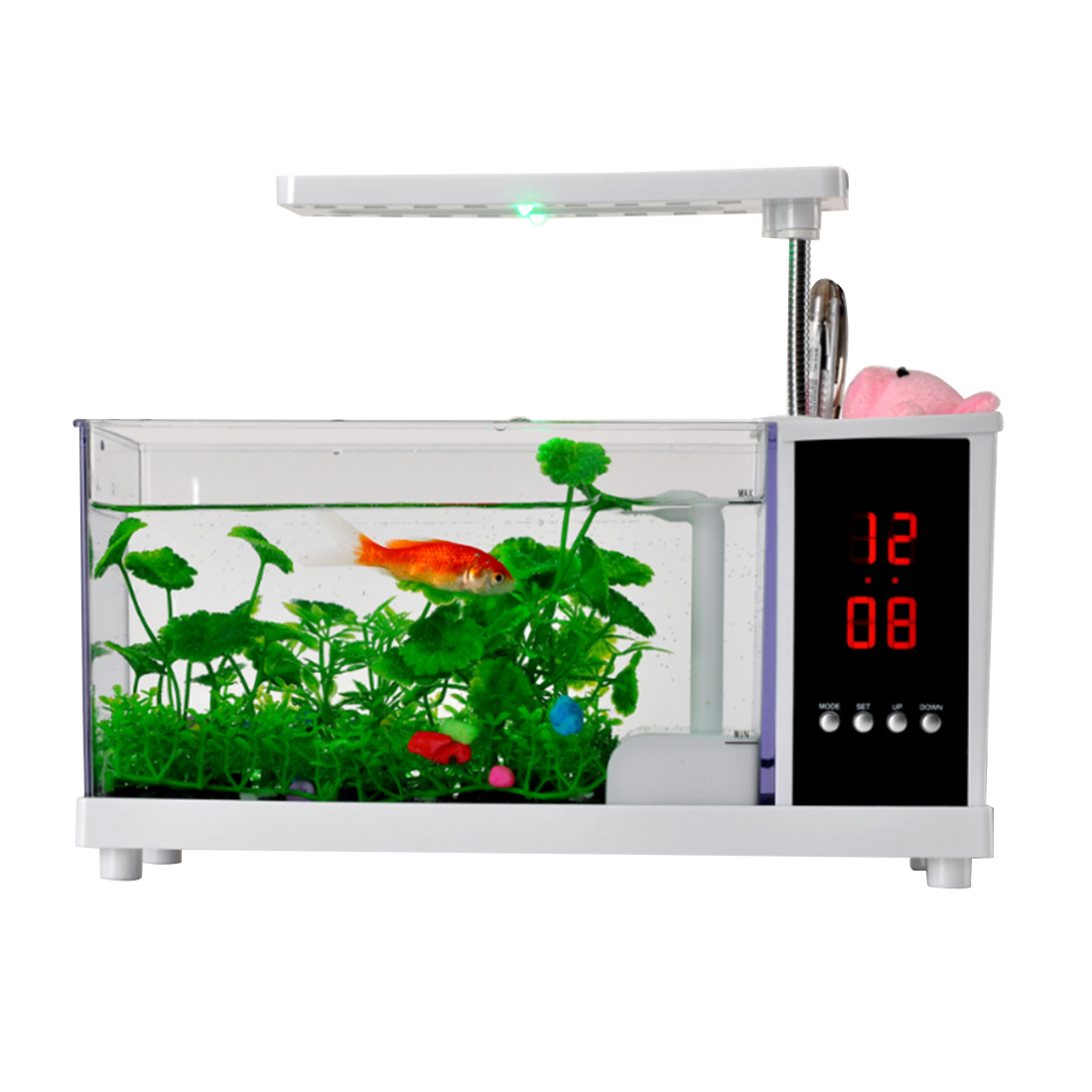 Multifunction USB Powered Mini Fish Tank Creative Aquarium with Alarm Clock FunctionMultifunction USB Powered Mini Fish Tank Creative Aquarium with Alarm Clock Function