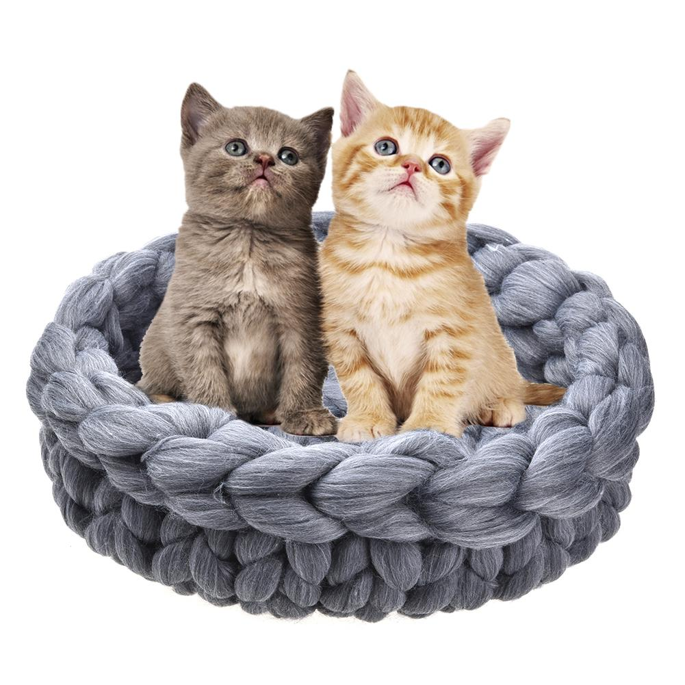 CC Thick Wool Knit Pet Nest Hand-woven Wool Kennel Cat Litter Warm Autumn And Winter Pet Supplies Two Styles