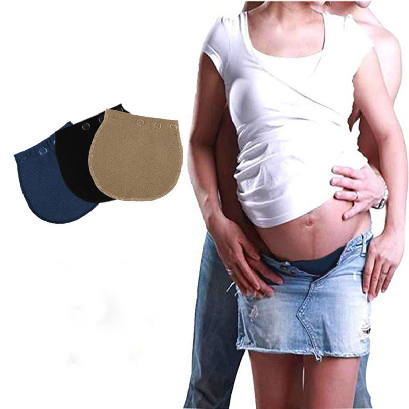 3 Buttons Adjustable Maternity Belly Band Elastic Pants Pregnant Women's Extension Pants Buckle Maternity Wear Flexible(China)