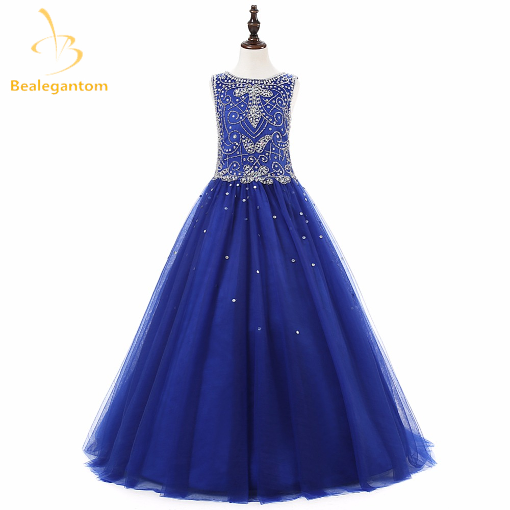 2019 New Scoop A-Line   Flower     Girl     Dresses   with Crystal Beading Sequined Tulle   Girls   Pageant Gown First Communion   Dresses   L116