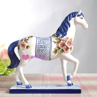 blue and white ceramic horse statue home decor crafts room decoration office vintage ornament porcelain animal figurines gifts
