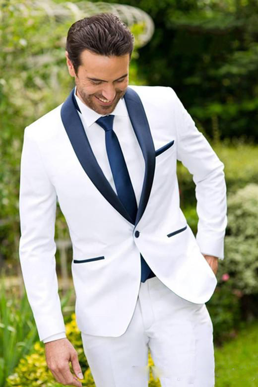 Cheap Custom Made Ivory White Groom Tuxedos Blue Lapel Best Groomsmen Suit Mens Wedding Suits Slim Fit Bridegroom Business Suit