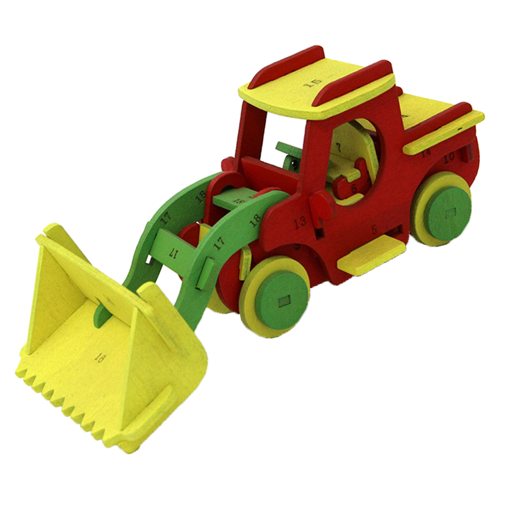 3D Wooden Puzzles DIY Engineering Vehicles Forklift Car Assembly Kit Building Toy for Kids Teens Adults Construction Game Toy ...