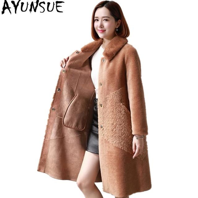 AYUNSUE automne hiver veste femmes vêtements 2020 réel laine fourrure manteau naturel vison fourrure col Long mouton cisaillement manteaux 18308