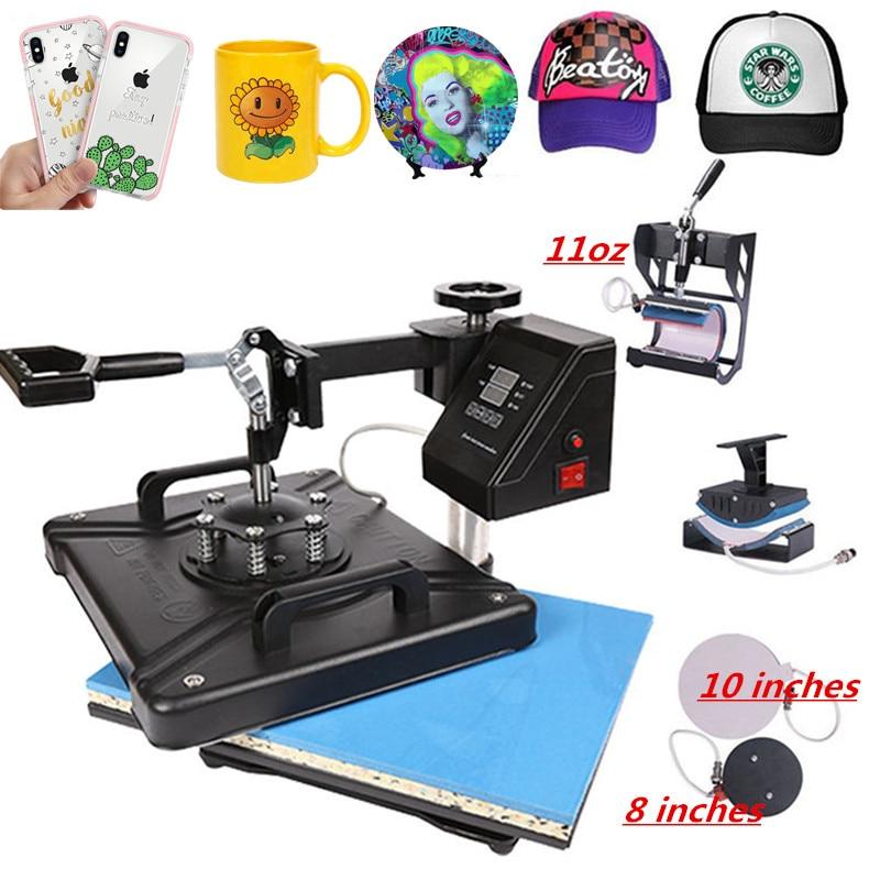 30*38CM 5 In 1 Combo Heat Press Machine Sublimation Printer 2D Thermal Transfer Cloth Cap Mug Plate T-shirt Printing Machine