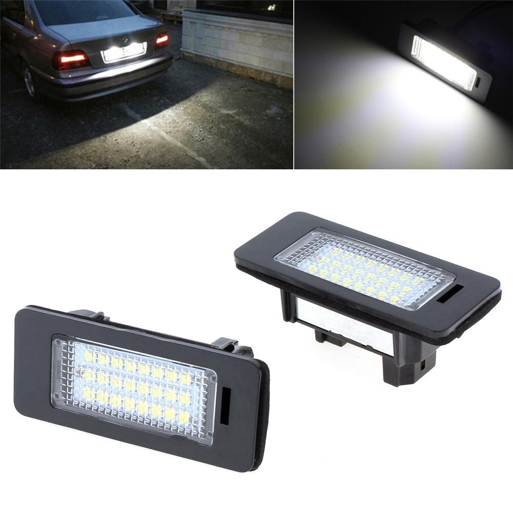 New 2pcs DC 12V SMD3528 Car LED License Plate Light Xenon White Color Lamp for BMW E39 E60 E61 E70 E82 E90 E92 smaart v 7 new license