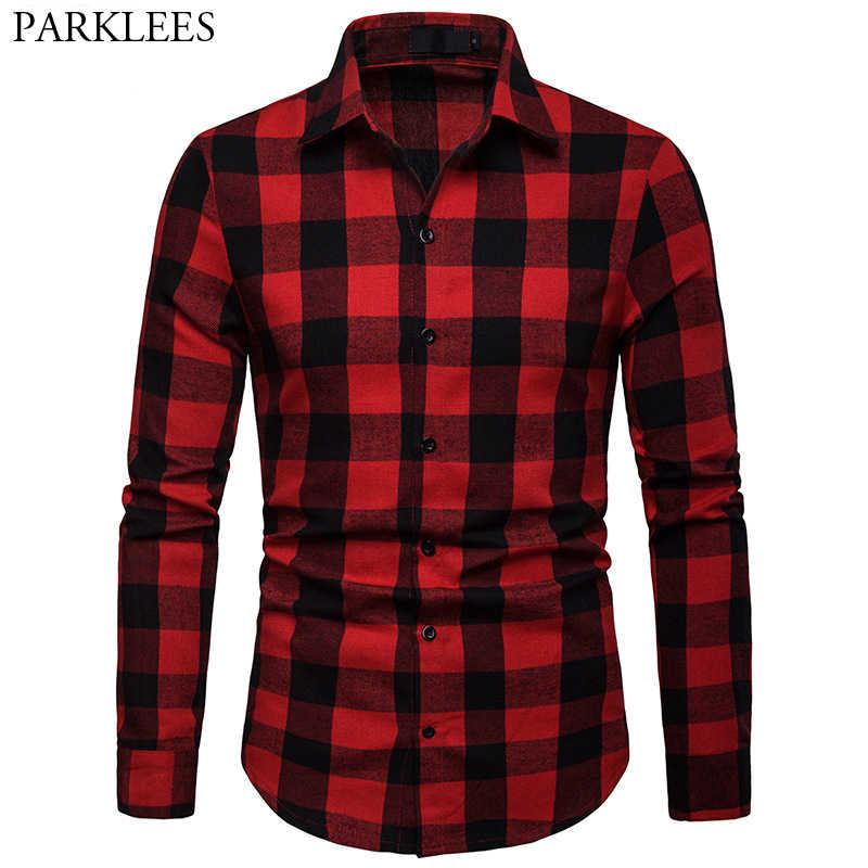 Red Black Plaid Checked Shirt Men 2019 Spring New Slim Fit Long Sleeve Shirt Mens Causal Button Down Dress Shirts Chemise Homme