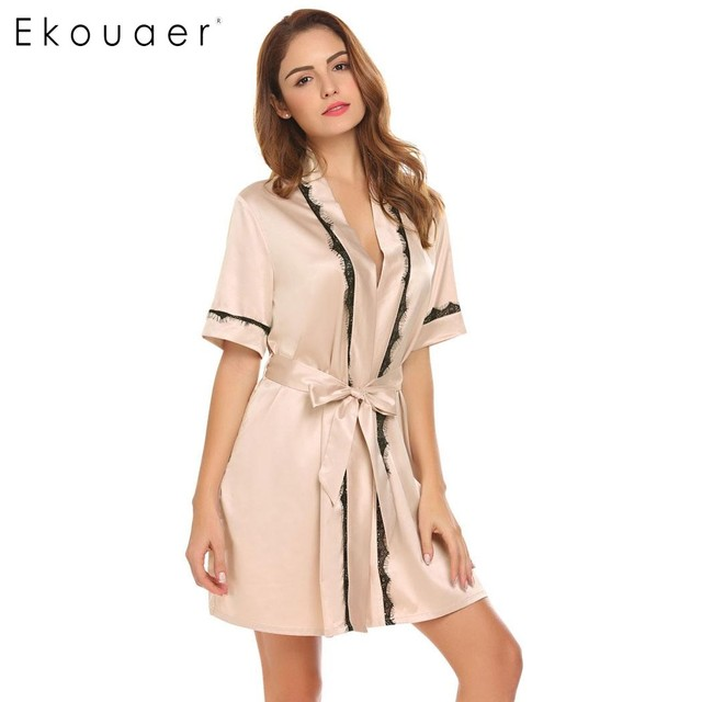 0a85413230 Ekouaer Women Nightgown Robe Summer Kimono Bathrobe Short Sleeve Satin Robes  Lady Dressing Gown Home Sleepwear Bridesmaid