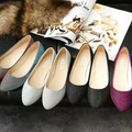 4 Color Women Ballet Flats Pointed Toe Sequined Cloth Shallow Slip on Shoes Boat Shoes 2016 Spring Autumn Woman Loafers Silver