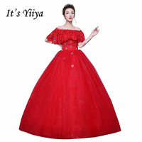 Plus Size Boat Neck Sequins Romantic Wedding Dresses Cheap Red White Bride Frock Custom Made Vestidos