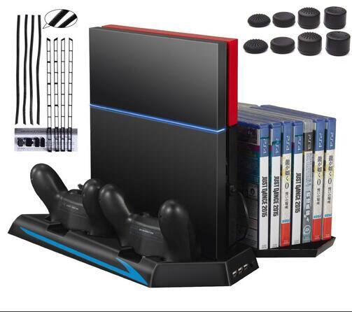 Vertikale Ständer für Ps4-konsole-Lüfter Controller Ladestation Kühler Spiel CD Lagerung Dualshock Ladegerät + Staubdicht Kit