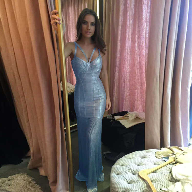 495cdb8f2a249 Rayon Metallic Maxi Bandage Dresses Baby Blue Fit & Flare Long Strap  Sleeveless Evening Party Prom Gown Foil Vestidos for Women