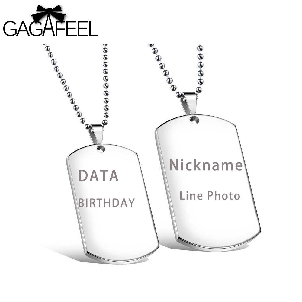 GAGAFEEL Custom Engrave Necklace Military Dog Tag Card Pendant Jewelry Women Men Lover Stainless Steel Necklace Friendship Gifts