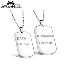 6354cb0a38 GAGAFEEL Custom Engrave Necklace Military Dog Tag Card Pendant Jewelry  Women Men Lover Stainless Steel Necklace Friendship Gifts