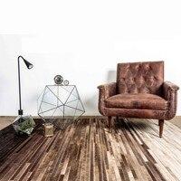 50 Sales Luxury Cowhide Skin Fur Seamed Square Striped Rug 160 240cm Natural Cowskin Striped Carpet