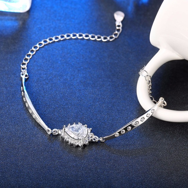 Authentic 100% Real 925 Sterling Silver Bracelet & Bangle with Water-drop Flower Linker, Bijoux Jewelry Gift For Women TF 787
