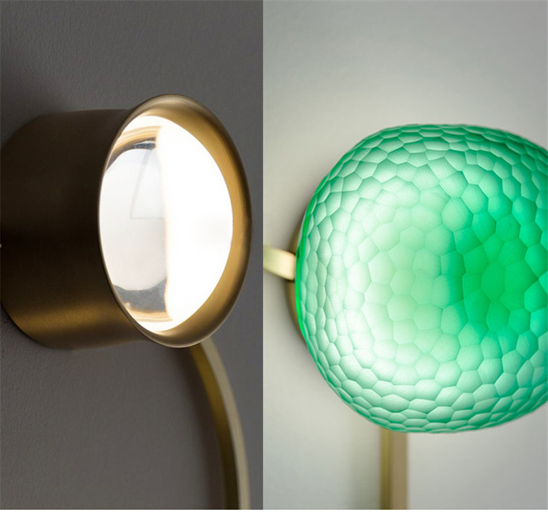 Lâmpada de parede criativo loja vidro cobre corredor lâmpada parede quarto cabeceira designer criativo fundo casa luz h150w - 6