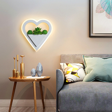 LED wall lamp heart-shaped acrylic 11W send simulation plant indoor wall lamps study bedroom porch aisle corridor LED wall light