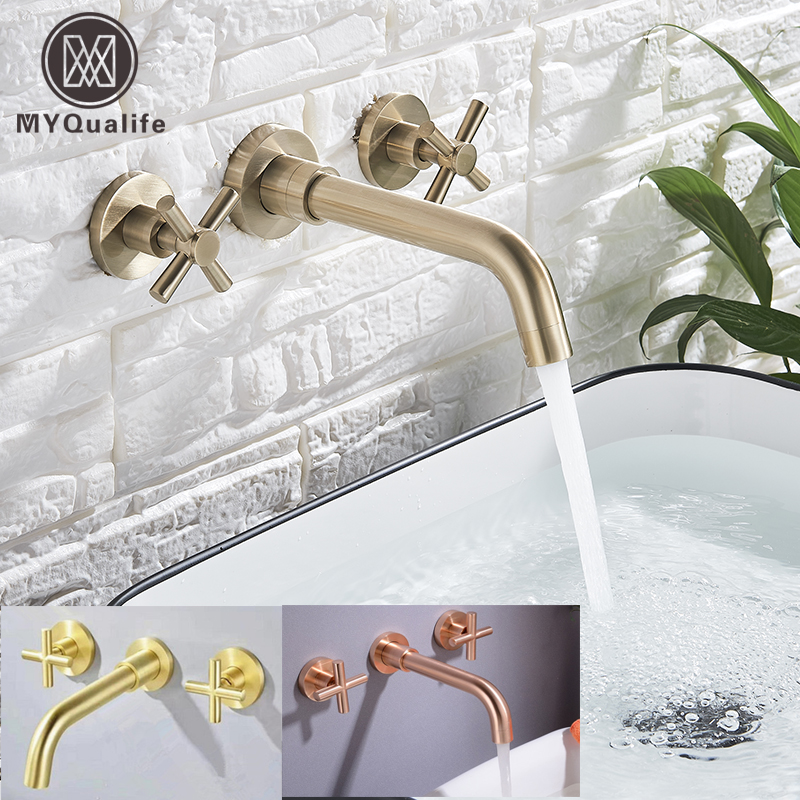 MYQualife Gold/Rose gold/ Brushed gold Basin Facute  Dual handle Wall Mounting Bathroom Faucet Rotating Sink faucetMYQualife Gold/Rose gold/ Brushed gold Basin Facute  Dual handle Wall Mounting Bathroom Faucet Rotating Sink faucet