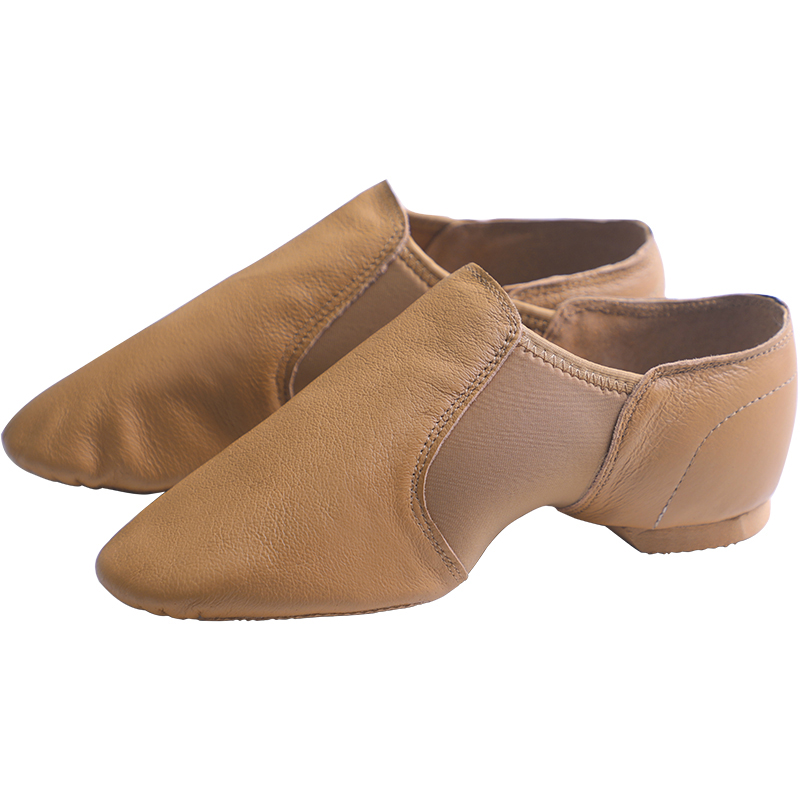 Genuine Leather Jazz Dance Shoes Tan Black Antiskid Sole Jazz Shoes High Quality Adults Dance Sneakers For Girls Women