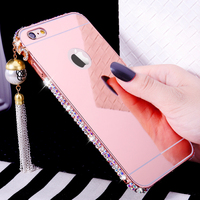 Luxury Girl Woman Lady Butterfly Ring Holder Diamond Bling Mirror Phone Case For For IPod Touch