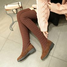 Low Heels Winter Warm Sock Boots Shoes Woman Black Gray Stretch Fabric Shoes Wool Knitting Cow Split Over-the-knee Boots Flats(China)