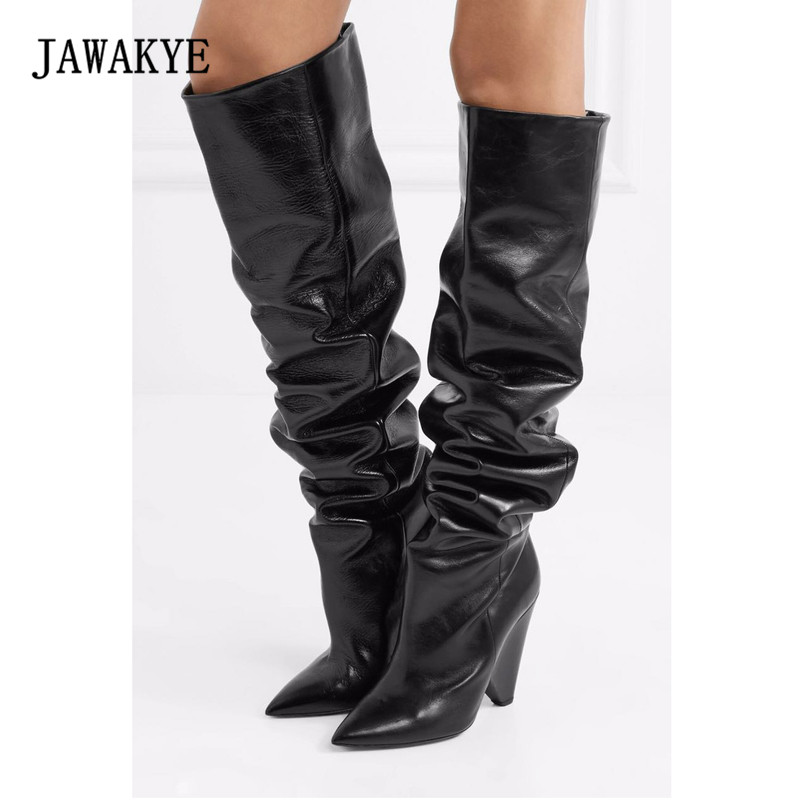 2018 Cow Leather Knee High Boots Woman Pointed Toe Strange High Heel Shoes Women Fashion Long Boots full grain genuine cow leather knee high boots shoes for woman black point toe anti slip pointed toe female women s boot pr1354